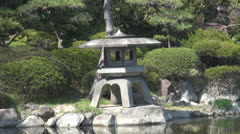 Ornamental construction in japanese park  Stock Footage