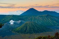 Bromo volcano at sunrise, java, indonesia Stock Photos