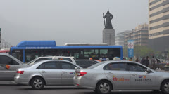 Heavy traffic car near Gwanghwamun Plaza Seoul South Korea vehicle pollution fog Stock Footage