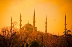 Sininen moskeija auringonlaskun aikaan, istambul Kuvituskuvat