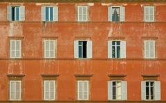 Windows of old house, rome, italy Stock Photos