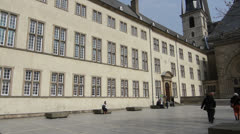 National Library of Luxembourg Facade, Luxembourg City Stock Footage