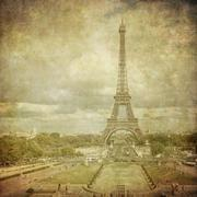 vintage image of eiffel tower, paris, france - stock illustration