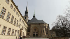National Library of Luxembourg and Notre Dame Cathedral, Luxembourg City Stock Footage