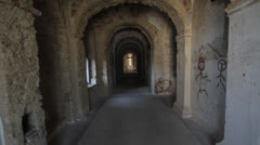 Tunnel of the ancient fortress Stock Footage