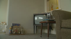 1960's television set (dolly shot 3) property release Stock Footage