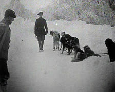 World War 1 - Mountain troops medical transport Stock Footage