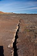 Earthquake fissure line Stock Photos