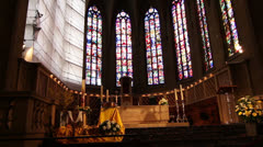 Interior of Notre-Dame Cathedral, Luxembourg City Stock Footage