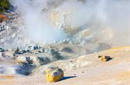 Stock Photo of smoking fumaroles of bumpass hell, lassen volcanic park, california.