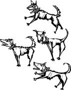 Four angry scary dogs Stock Illustration