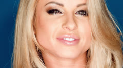 Close Up Portrait of Smiling Blond Sexy Girl Stock Footage