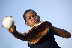 Sport, baseball and kids, portrait of child throwing ball Stock Photos