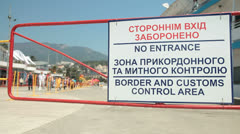 Border And Customs Control Area Sign Stock Footage