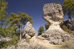 limestone rocks in cuenca, spain - stock photo