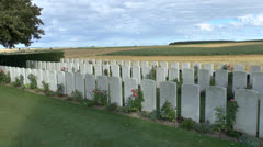 The CWGC Stump Road Cemetery, Grandcourt-Thiepval, Somme, Picardy, France. - stock footage