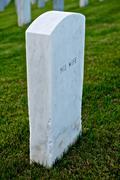 white marble headstone or gravestone - stock photo
