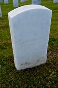 White marble military style headstone or gravestone Stock Photos