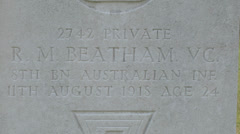Pte Robert Matthew Beatham VC, Heath Cemetery, Harbonnieres, Somme, France. Stock Footage