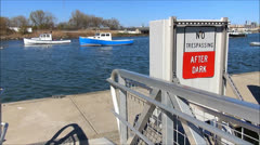 Boat Pier trespassing sign Stock Footage