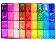 box of poster colors (top view) for paint - stock photo