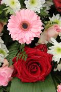 Wedding arrangement in pink and white Stock Photos