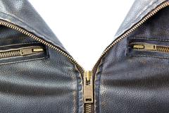 Zipper on brown leather motorcycle jacket Stock Photos