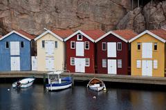 scandinavian huts - stock photo