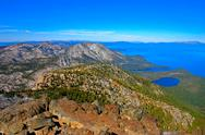 The aerial view of lake tahoe from the summit of tallac mountain. Stock Photos