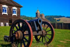 Cannon in fort ross inner square, california Stock Photos