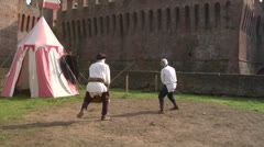 medieval sword duel 01 - stock footage