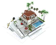 House design progress, architecture  visualization Stock Illustration