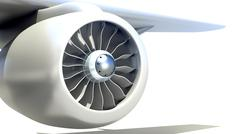 Closeup of Airplane Engine - stock illustration