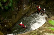 Stock Photo of canyoning jump