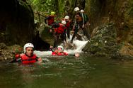 Stock Photo of canyoning team