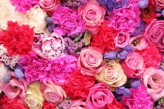 Stock Photo of bridal decorations in different shades of pink and purple