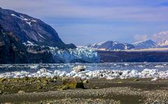 A view to margerie and grand pacific glaciers from tarr inlet in glacier bay  Stock Photos
