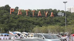 Pattaya City sign. Stock Footage