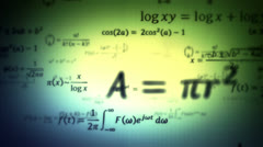 Mathematical formulas. Loopable. Dolly in. Green-Blue Stock Footage