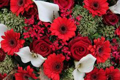floral arrangement in red and white - stock photo