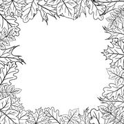 Framework from leaves, outline - stock illustration