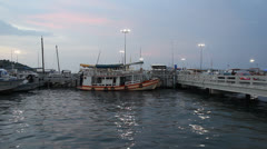 Pattaya harbour at dusk. - stock footage