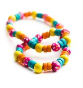 necklace with colorful beads - stock photo