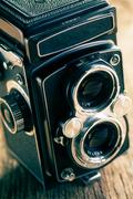 retro middle-format camera - stock photo