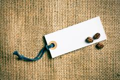 coffee beans and price tag - stock photo