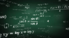 Mathematical formulas. Loopable. 360. Green Stock Footage