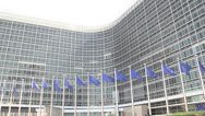 Stock Video Footage of european flags waving slow motion EU commission Brussels