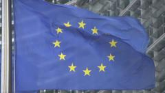 European flag waving slow motion Stock Footage