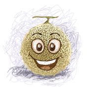 happy melon - stock illustration