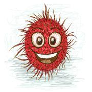 Stock Illustration of happy rambutan